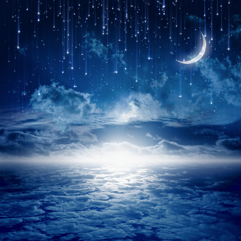 Peaceful background, blue night sky with moon, stars, beautiful clouds, glowing horizon. Elements of this image furnished by NASA