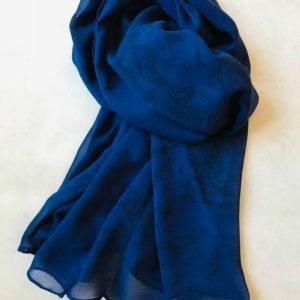 墨流しシフォンスカーフ (ブルー)