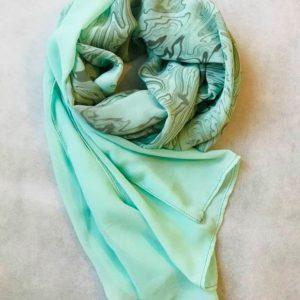 墨流しシフォンスカーフ (小)(ライトグリーン)