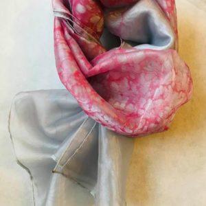 エブルオーガンジースカーフ (ピンクホワイト)